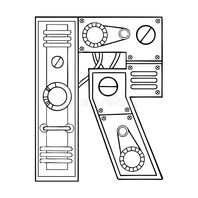 机械信件R板刻传染媒介例证 向量例证