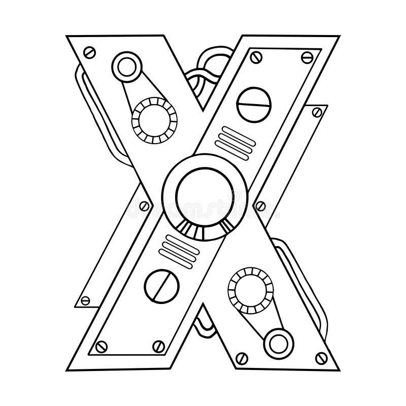 机械信件x刻记的传染媒介例证 库存例证