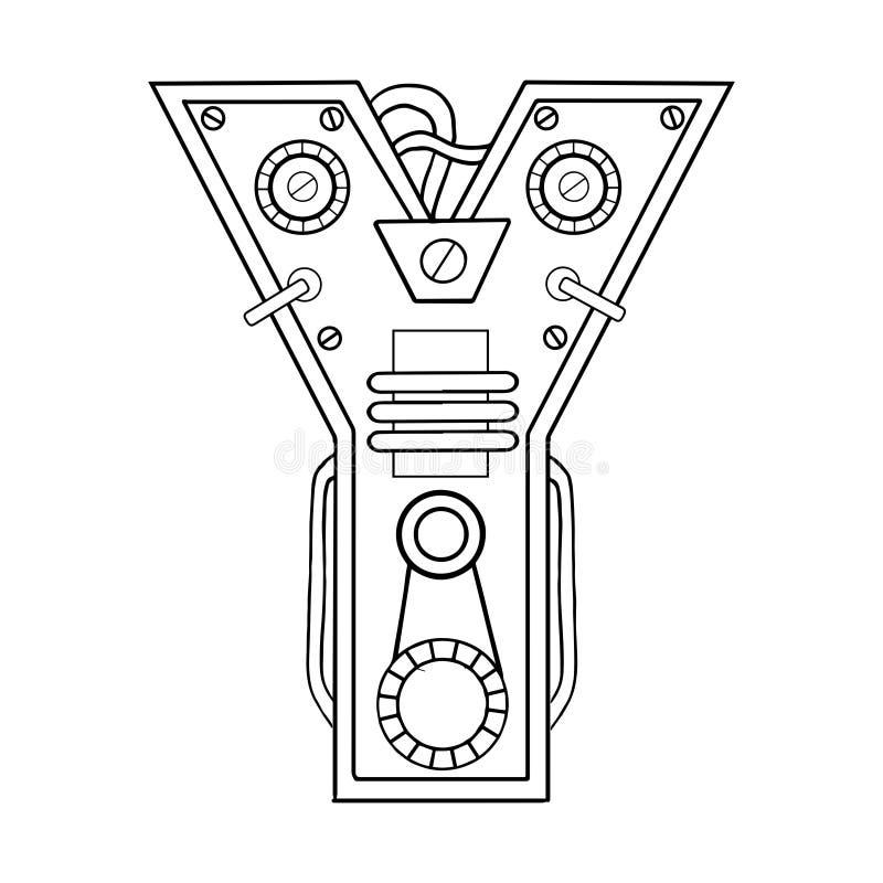 机械信件Y板刻传染媒介例证 库存例证