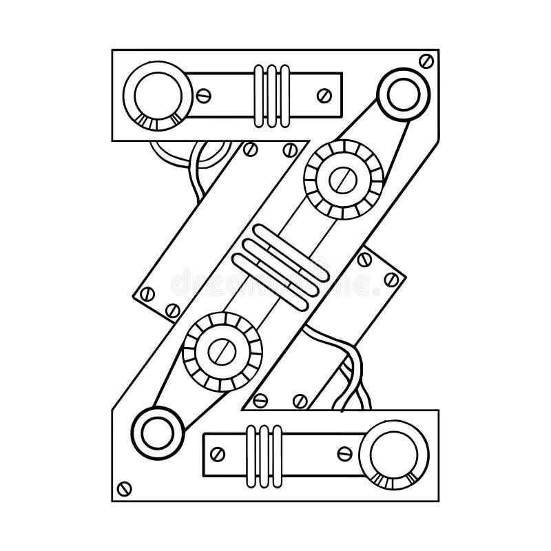 机械信件Z板刻传染媒介例证 皇族释放例证