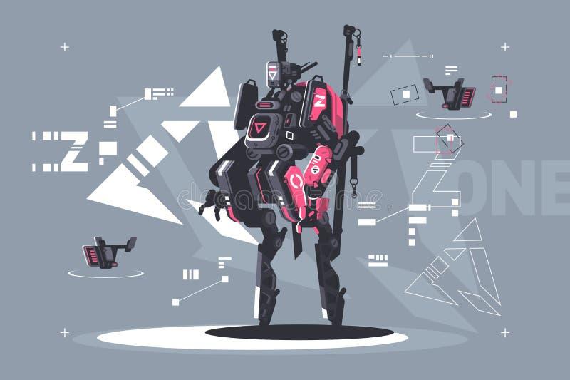 机械化和自动化的机器人寄生虫 库存例证