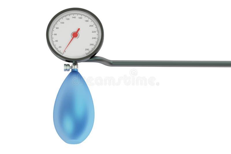 机械压力测量仪,血压计 3d翻译 库存例证