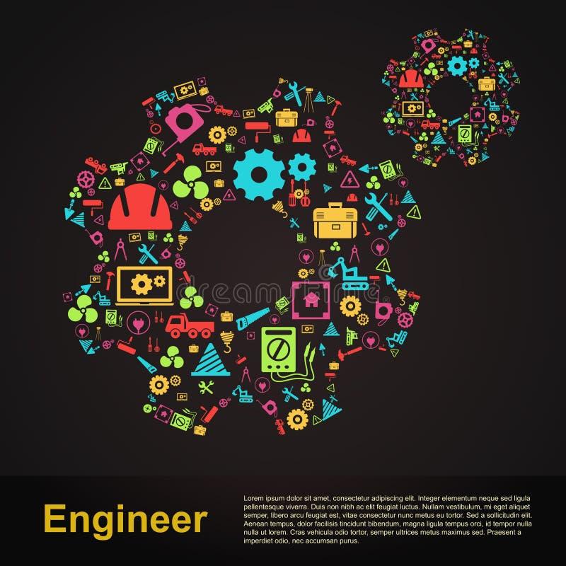 机械和土木工程齿轮形状infographic横幅t 向量例证