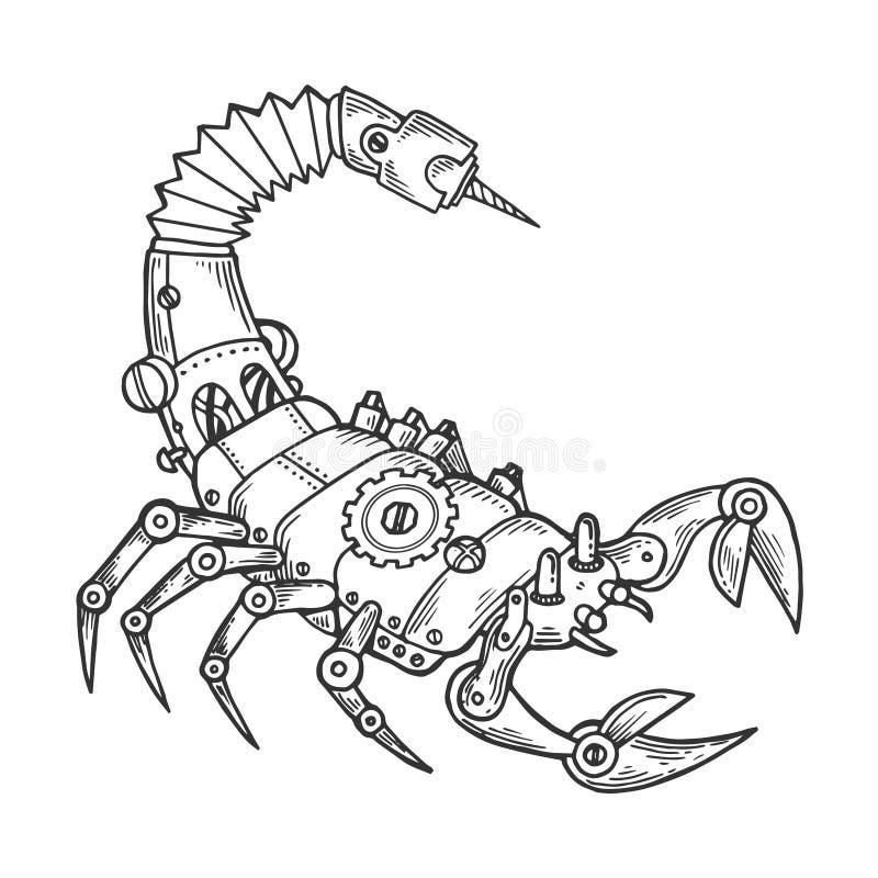 机械天蝎座动物板刻传染媒介 向量例证