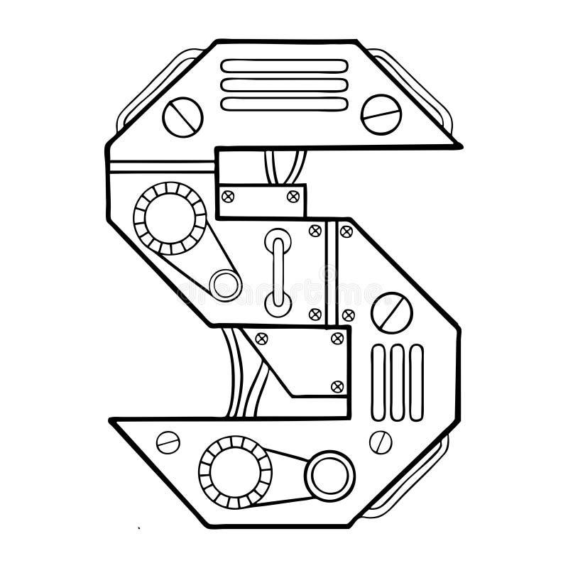 机械字母S板刻传染媒介例证 皇族释放例证