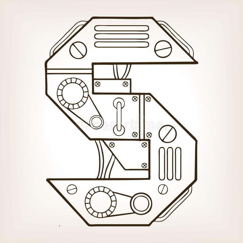 机械字母S板刻传染媒介例证 向量例证