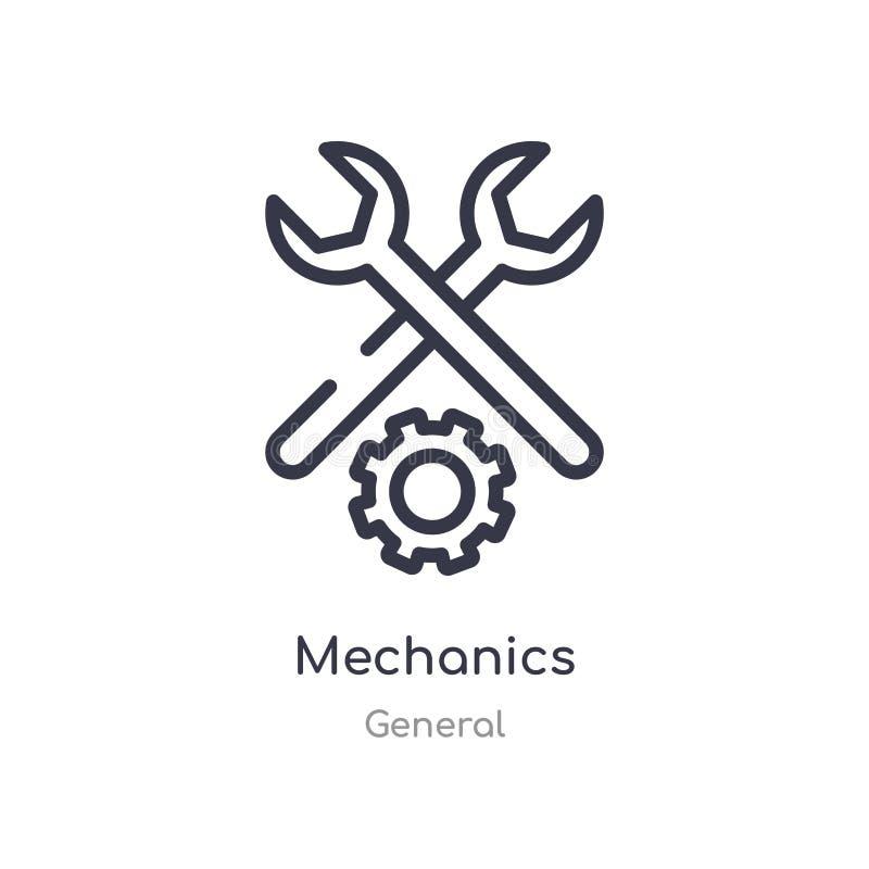 机械工概述象 r 在白色的编辑可能的稀薄的冲程机械工象 向量例证