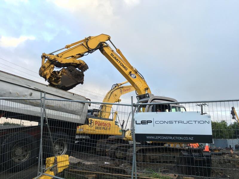 机械挖掘机的挖掘机 免版税库存图片