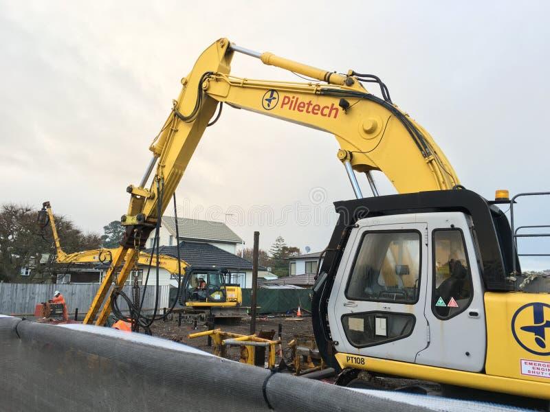 机械挖掘机的挖掘机 库存图片