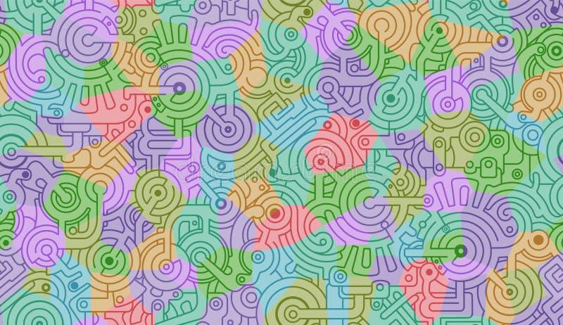 机械无缝的传染媒介背景样式 蓝色,黄色,绿色,紫色颜色 皇族释放例证