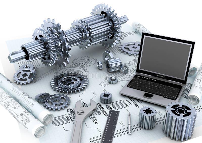机械概念的工程 皇族释放例证