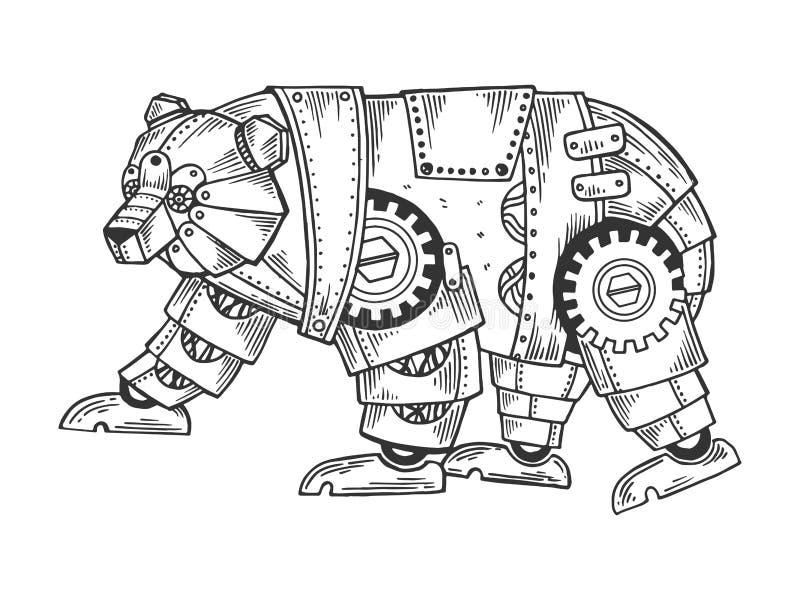 机械熊动物板刻传染媒介 库存例证
