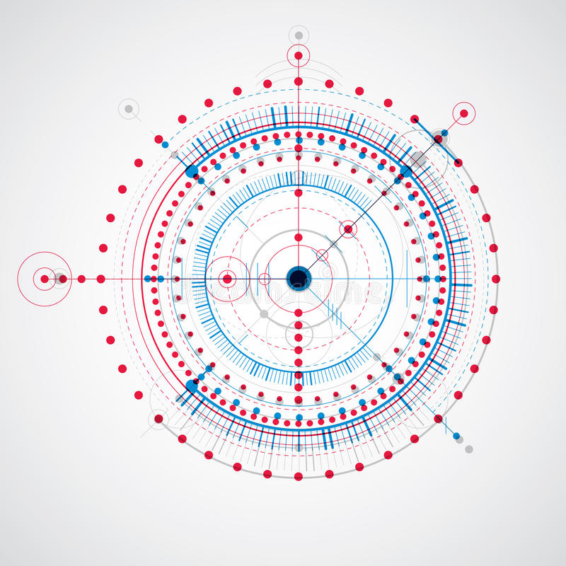 机械计划,与圈子的蓝色传染媒介工程图 库存例证