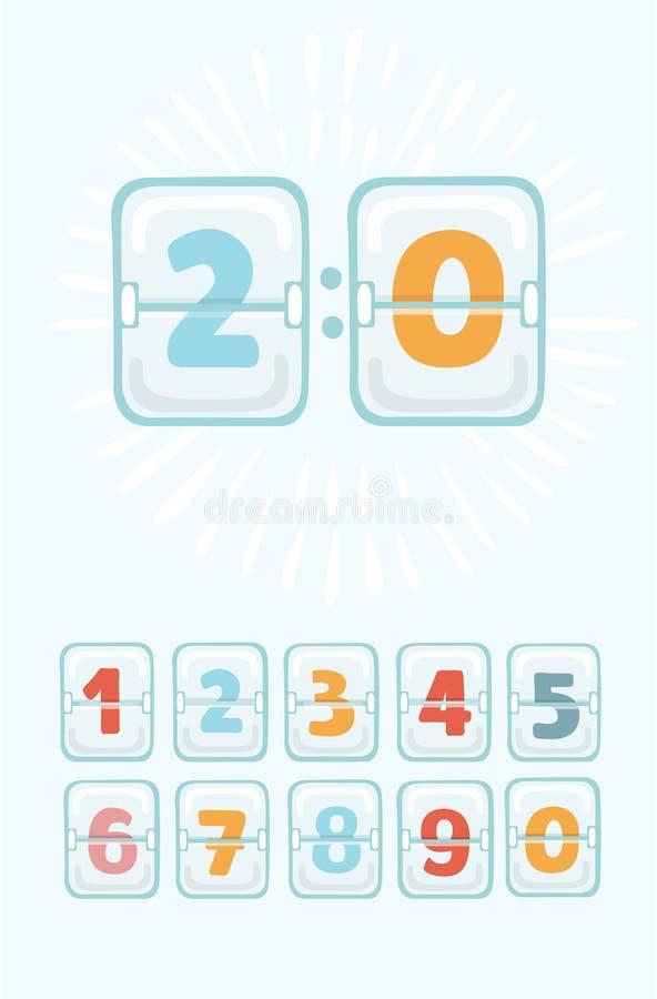 机械记分牌传染媒介 模式时钟盘区 背景读秒设计例证定时器白色 向量例证