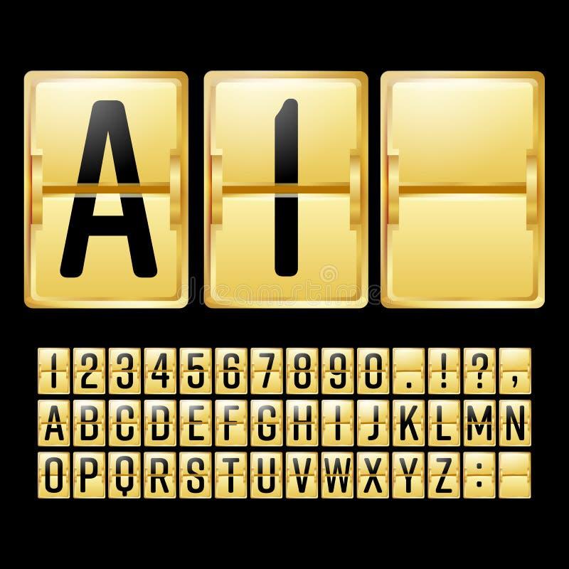 机械记分牌传染媒介 与黑数字和信件的金黄色时间表 模式时钟盘区 背景读秒设计例证定时器白色 字母表 向量例证