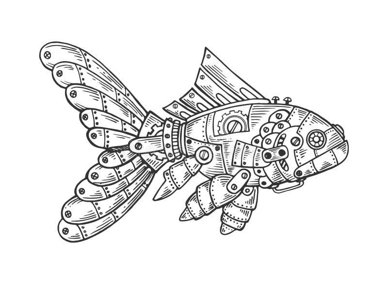 机械鱼动物板刻传染媒介 向量例证