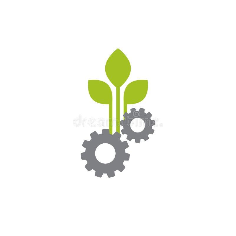 机械齿轮和三片绿色叶子 背景查出的白色 向量例证