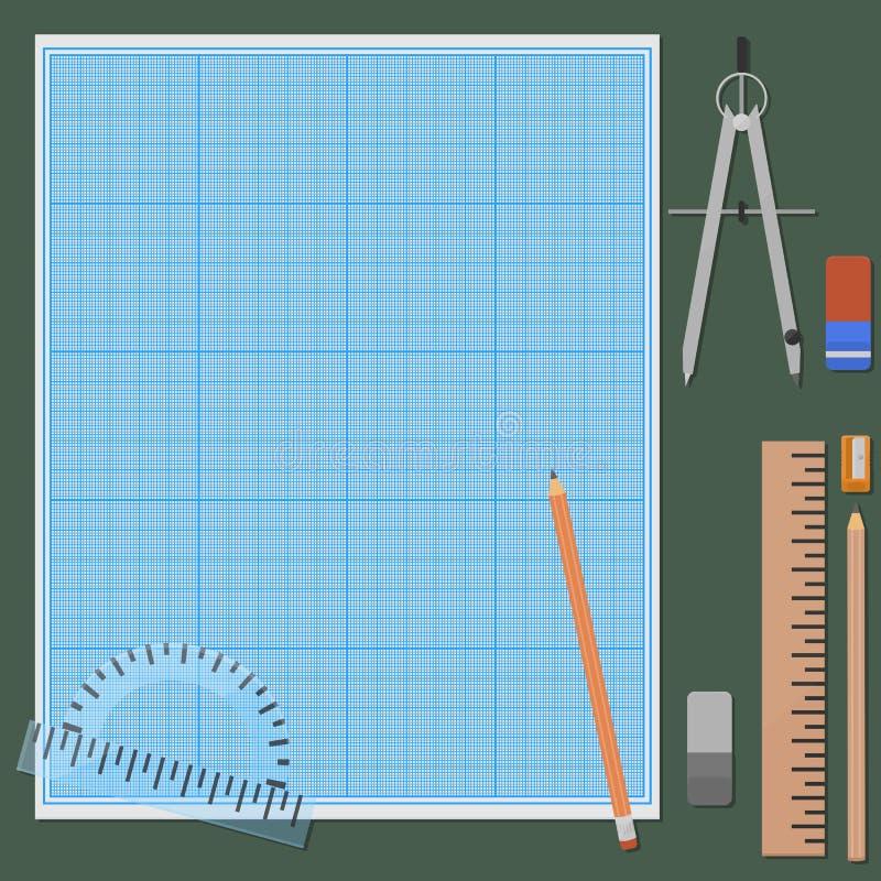 机械画的辅助部件 向量例证
