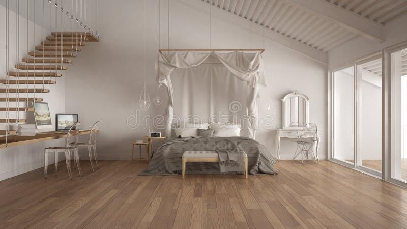 机盖床在有家庭工作场所的, sc minimalistic白色卧室 向量例证
