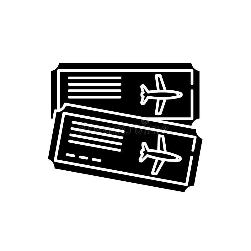机票黑象,在被隔绝的背景的传染媒介标志 机票概念标志,例证 库存例证