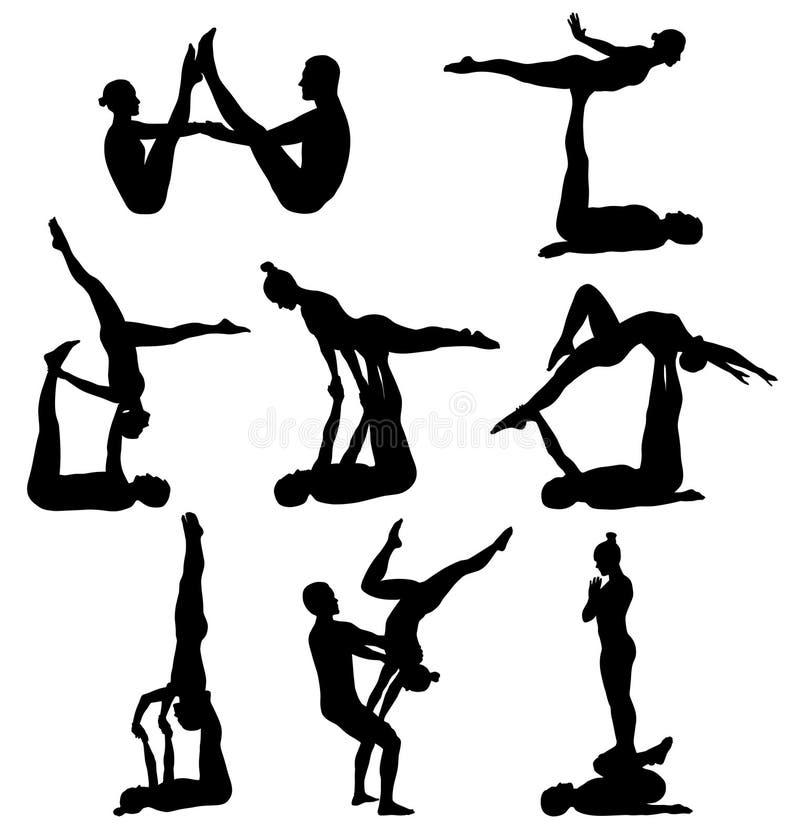 杂技瑜伽剪影 库存例证