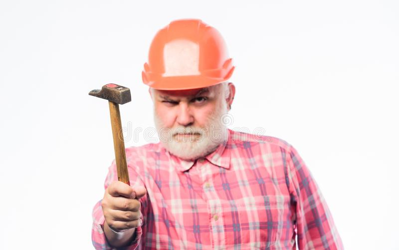 杂物工家修理 老练的工程师 修理或更新 修理车间 r 资深工头 免版税库存照片