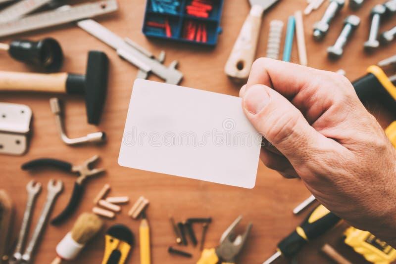 杂物工空白名片当拷贝空间 免版税库存图片