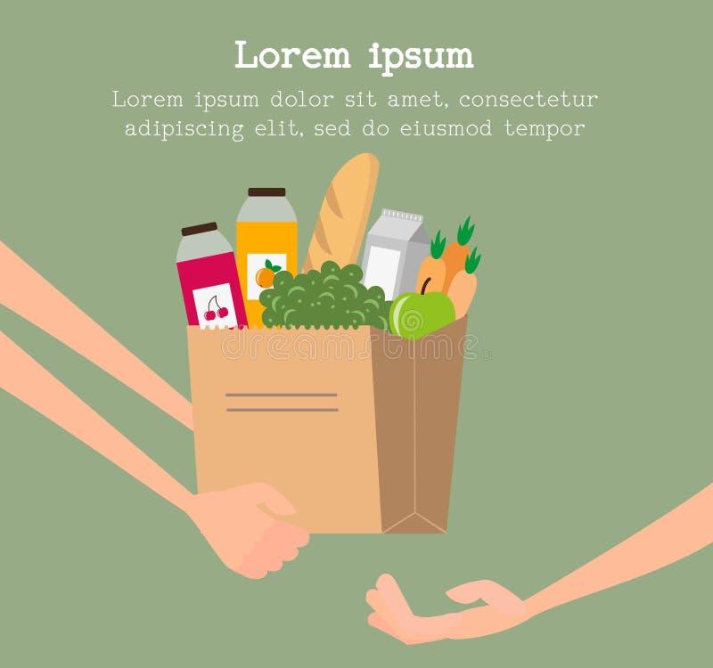 杂货与纸袋的送货业务概念有很多食物 皇族释放例证