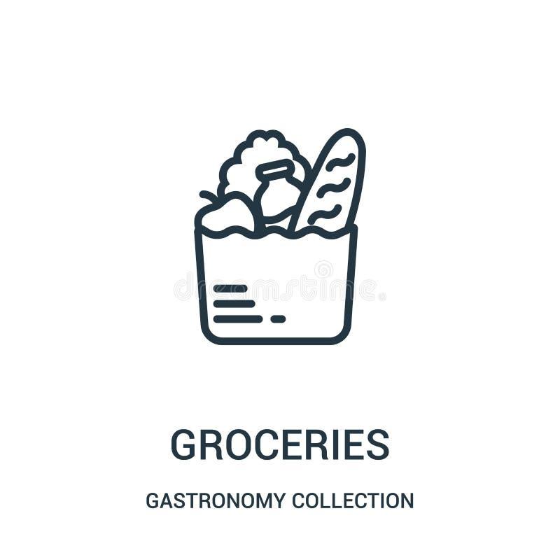 杂货从美食术汇集汇集的象传染媒介 稀薄的线杂货概述象传染媒介例证 向量例证
