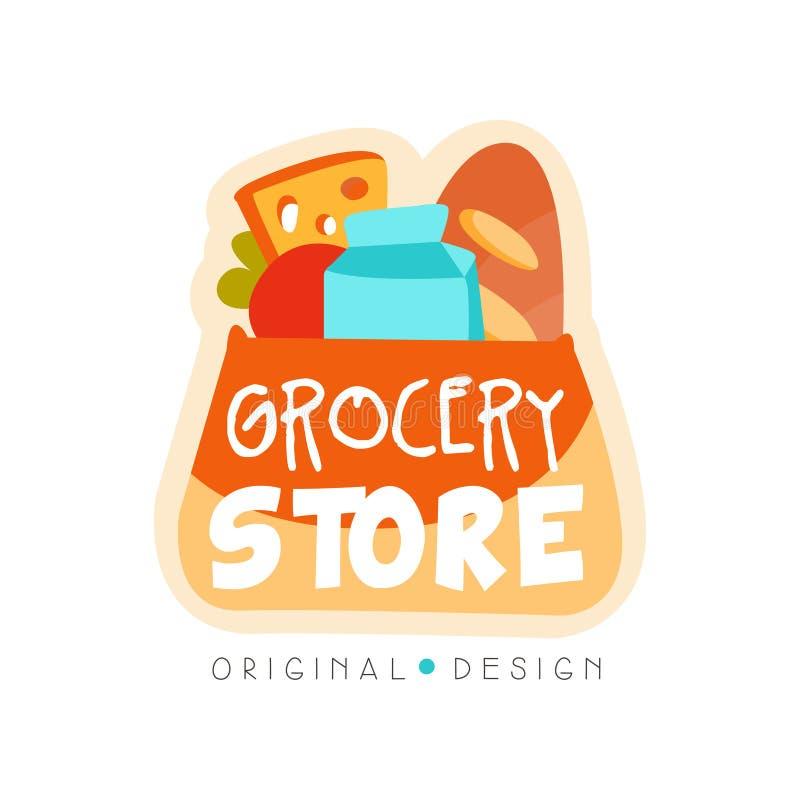 杂货店商标设计模板,新鲜食品商店标签在白色背景的传染媒介例证 向量例证