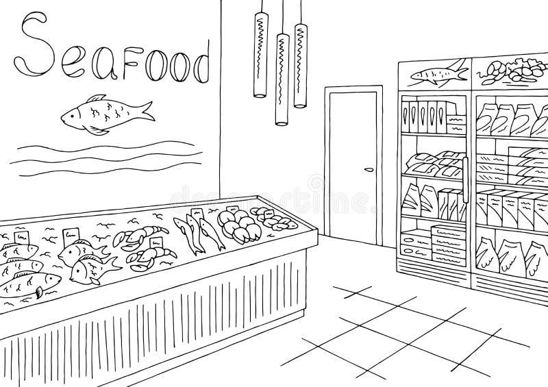 杂货店图表海鲜鱼商店内部黑白色剪影例证传染媒介 皇族释放例证
