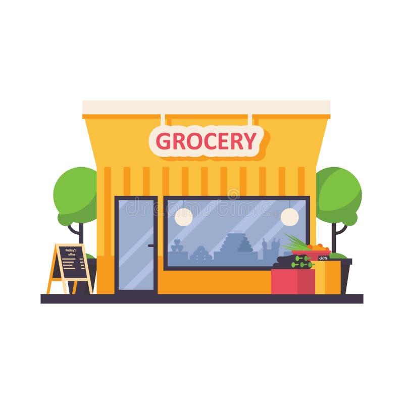 杂货店在白色背景隔绝的商店前面 向量例证