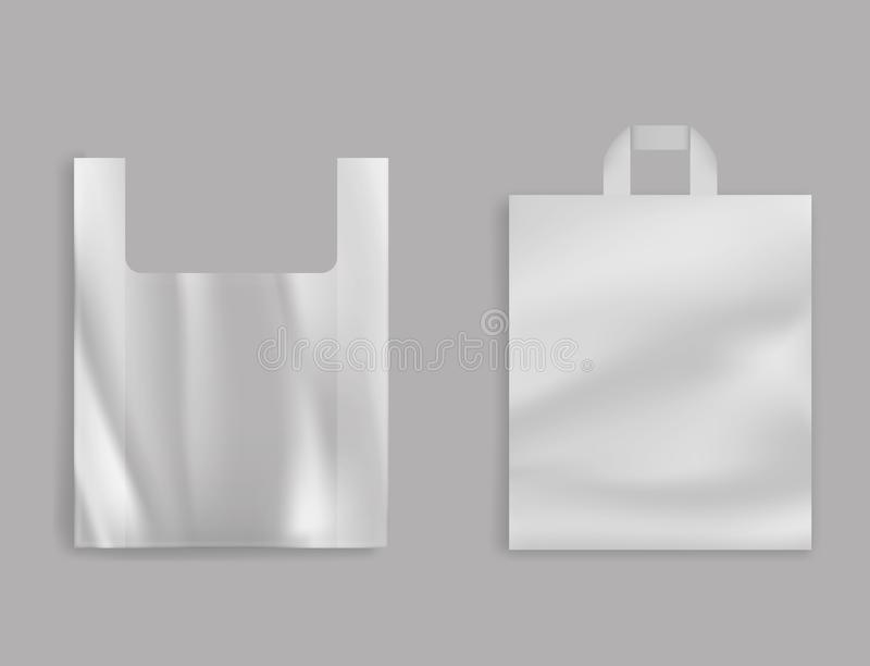 杂货店塑料袋3d现实传染媒介 向量例证