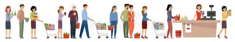 杂货店队列 购物车和菜篮的人 向量例证