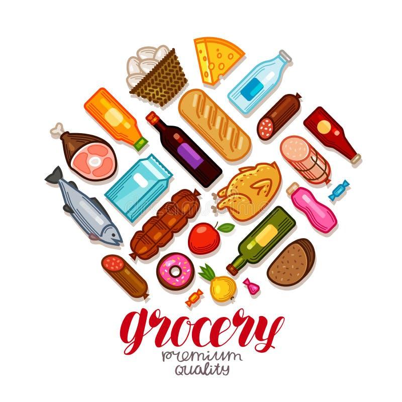杂货店,横幅 被设置的食物和饮料象 也corel凹道例证向量 库存例证