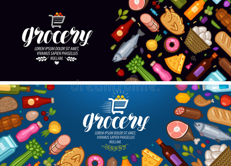杂货店,横幅 食物和饮料标签 也corel凹道例证向量 向量例证