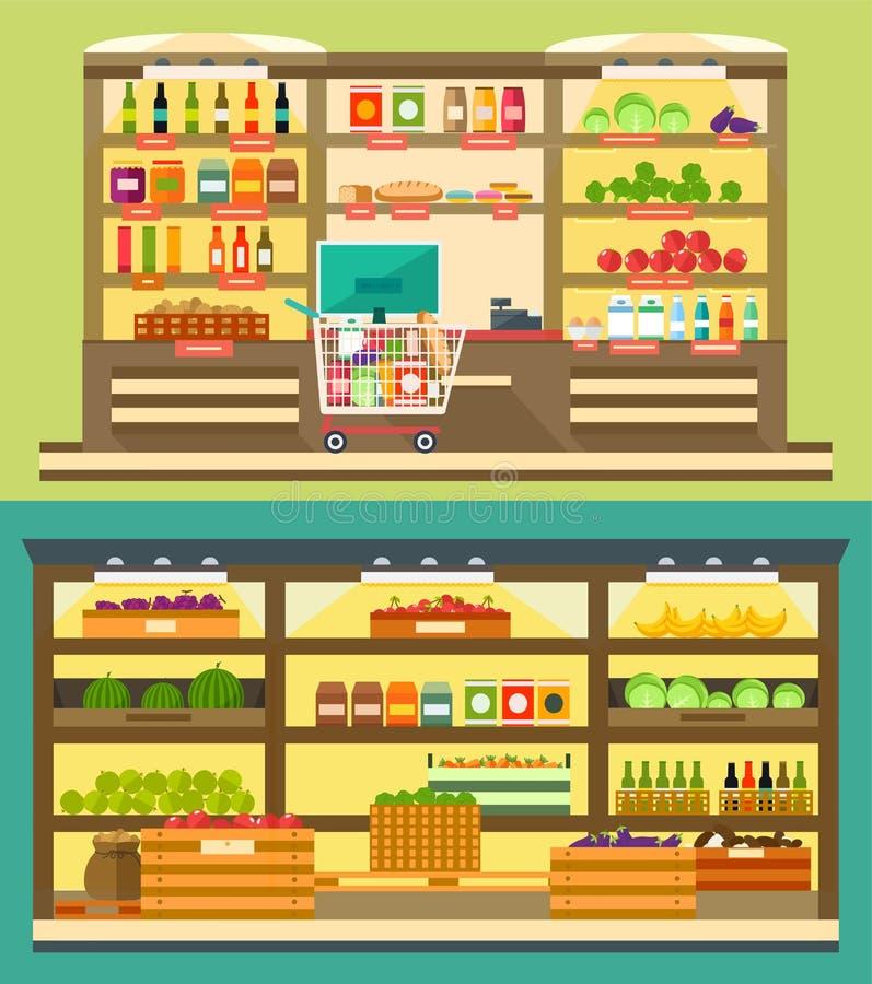 杂货店,超级市场搁置用食物和饮料 皇族释放例证