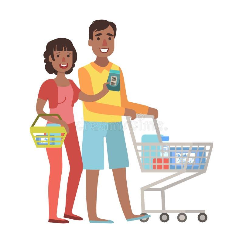 杂货的男人和妇女购物在有购物车的,从愉快的爱恋的家庭系列的例证超级市场 向量例证