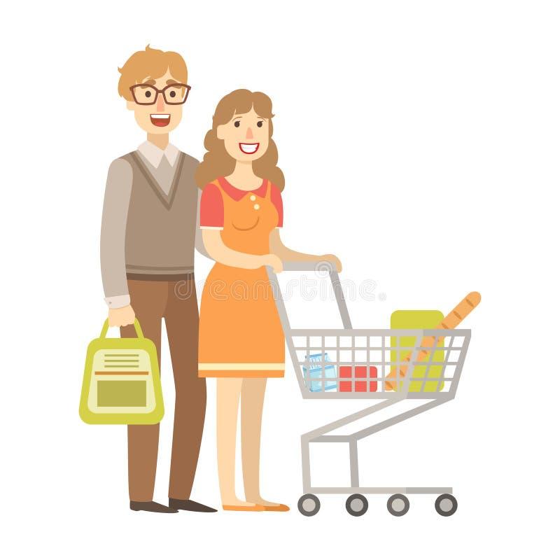 杂货的年轻夫妇购物与购物车,从愉快的爱恋的家庭系列的例证 库存例证