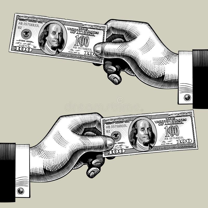 权利和左手与100美元钞票 库存例证