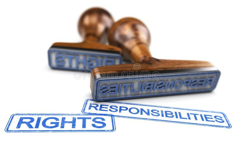 权利和责任词在白色背景 向量例证