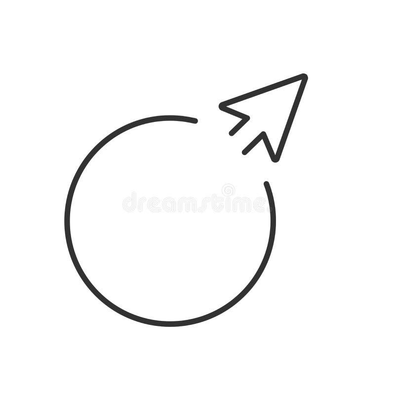 权利的箭头在圈子外面 传染媒介例证样式是平展在圈子里面的偶象标志,黑色,透明背景 库存例证