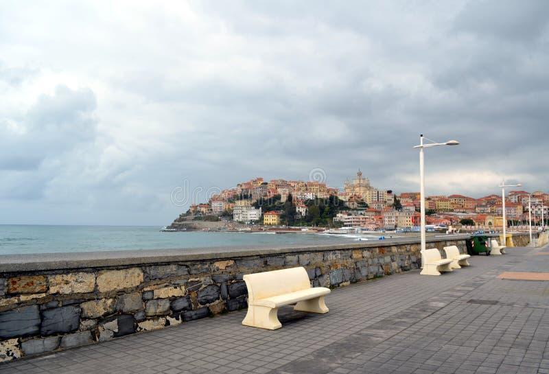 统治权城市,利古里亚,意大利风景视图 免版税库存图片