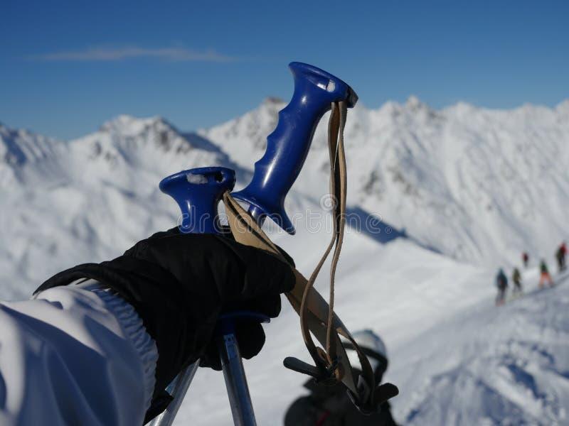 杆滑雪雪 库存图片