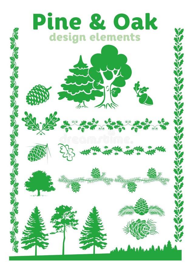 杉木和橡木设计元素 皇族释放例证
