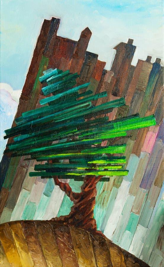 杉木常设结构树tront墙壁 向量例证
