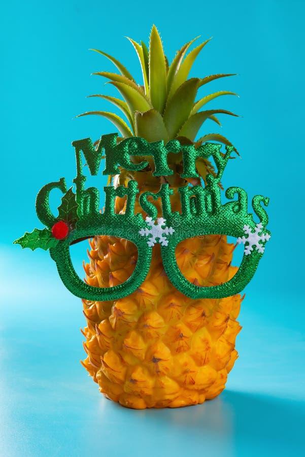 杉木苹果佩带一副眼镜与圣诞快乐的在蓝色 库存照片