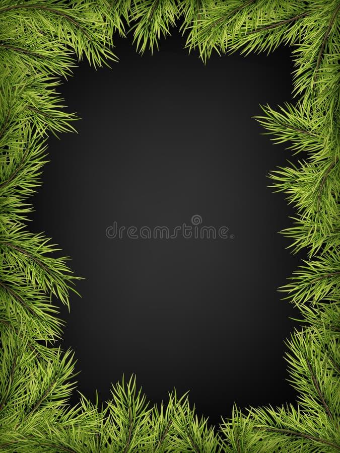 杉木,冷杉,一圣诞派对的云杉的分支豪华邀请海报框架黑背景的 模板为 库存例证