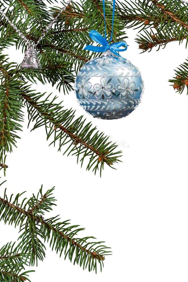 杉树分支与圣诞节装饰品的在白色被隔绝的背景 免版税图库摄影