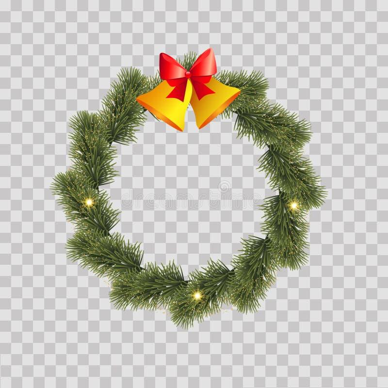 杉树分支圣诞节花圈  向量 免版税库存图片